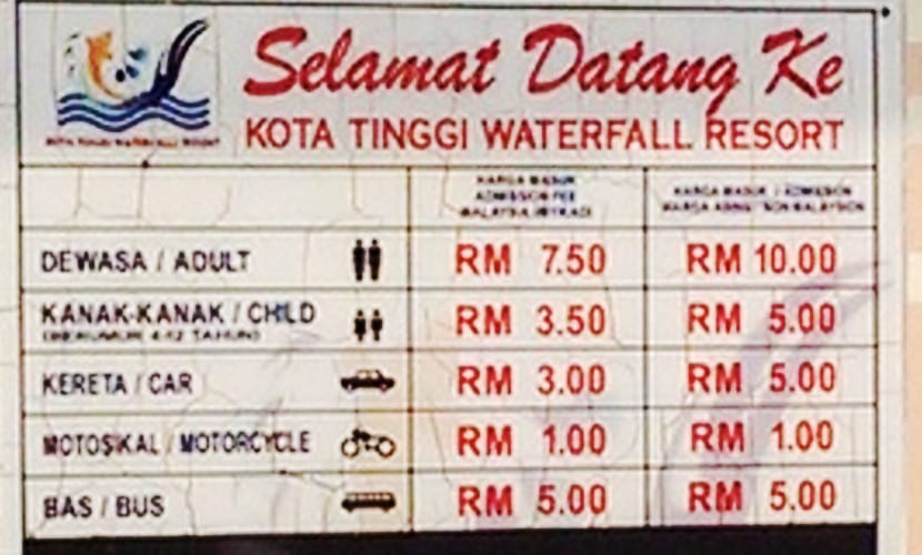 kota tinggi waterfall resort ticket