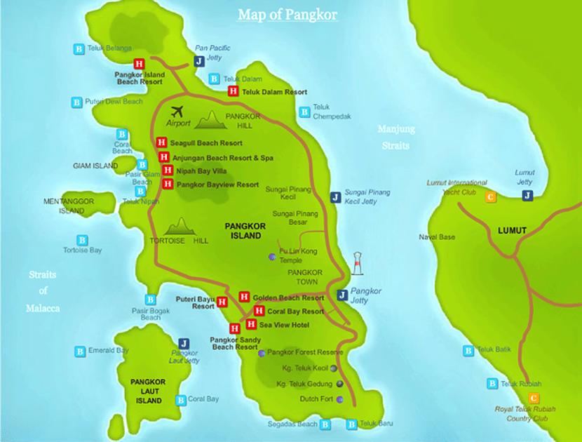 peta tempat menarik pangkor island