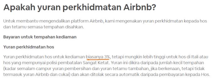 yuran perkhidmatan airbnb
