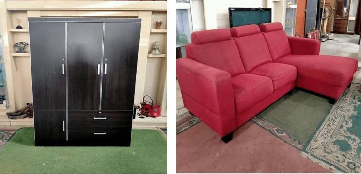 Almari kayu pelat dan sofa tema merah
