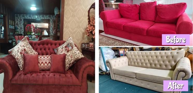 sofa coklat dan sofa tema merah