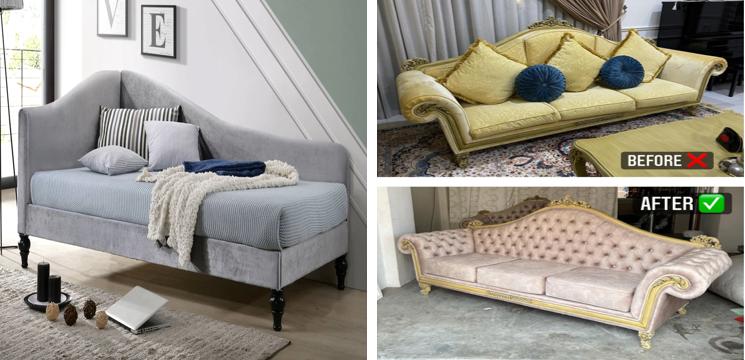 before & after repair sofa