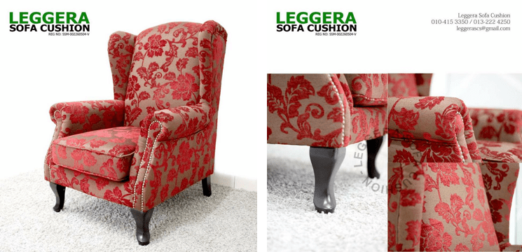perabot sofa elegen merah
